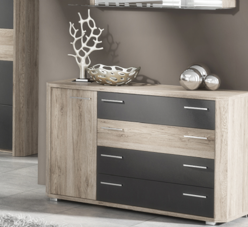 Mocha Dark Brown With Oak Effect Chest Of Drawers Dresser - 2687